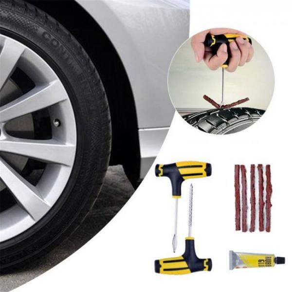 Tubeless emergency car tire puncture repair tool kit