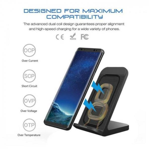 Dcae 10w wireless charger for samsung galaxy s9 s8 note 9 8 qi wireless charging dock for iphone x xs max 8 plus xr usb charger