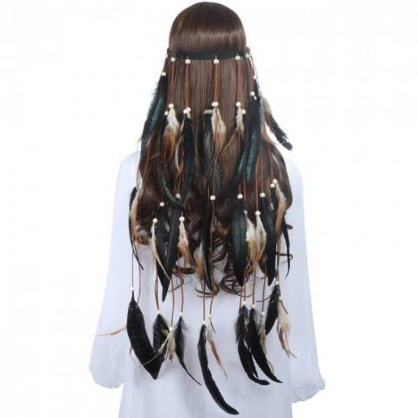 Accessories Feather Rope Crown 2019 Boho White Elastic Gypsy Festival Head Band for Women Fashion Indian Hair Accessories 2019