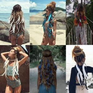 2019 feather hair band bohemian blue elastic gypsy festival headband women's fashion
