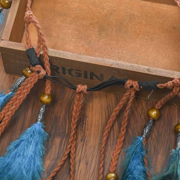 2019 feather hair band bohemian blue elastic gypsy festival headband women's fashion