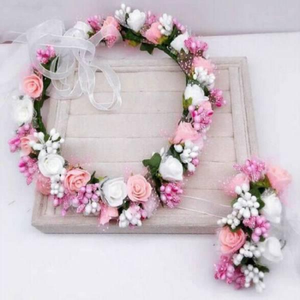 Accessories Handmade Festival Ribbon Flower Hair Accessories Artificial Floral Women Headband Crown Wedding Sets Accessories