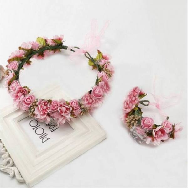 Handmade festival ribbon flower hair accessories artificial floral women headband crown wedding sets