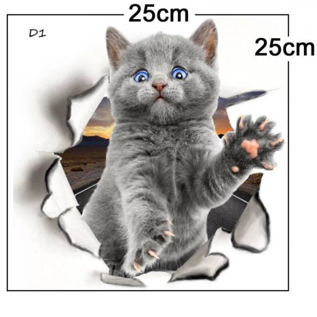 Hole View Cat Dog 3D Wall Sticker Bathroom Toilet Kids ...