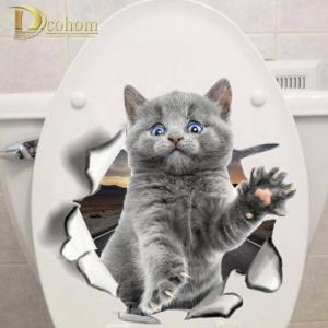 Hole view cat dog 3d wall sticker bathroom toilet kids room decoration wall decals sticker refrigerator waterproof poster