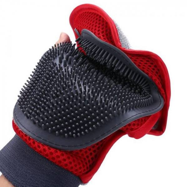 Kemisidi cat glove for animals combing cats grooming hackle excellent red silicon pet massager hair removal mitten accessories