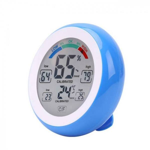 Round indoor thermometer and hygrometer touch screen