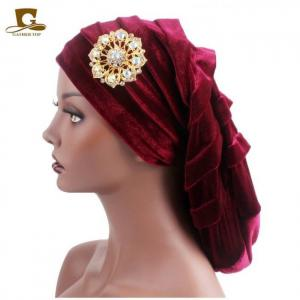New pleated velvet turban with metal brooch long women baggy cap hijab headwrap