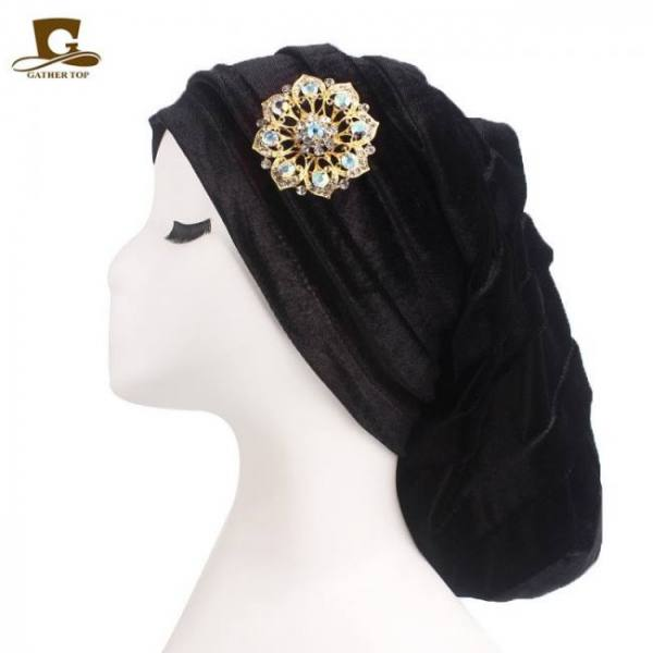 Accessories New Pleated Velvet Turban With Metal Brooch Long Women Baggy Cap Hijab Headwrap Baggy