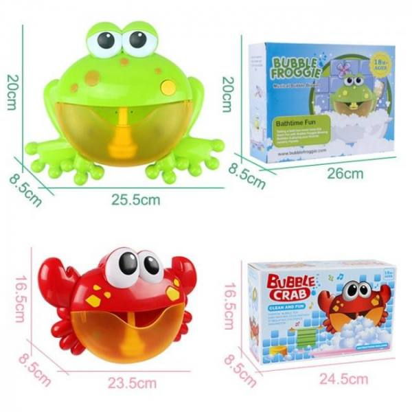 Frog crabs baby bath toy soap machine bubble maker