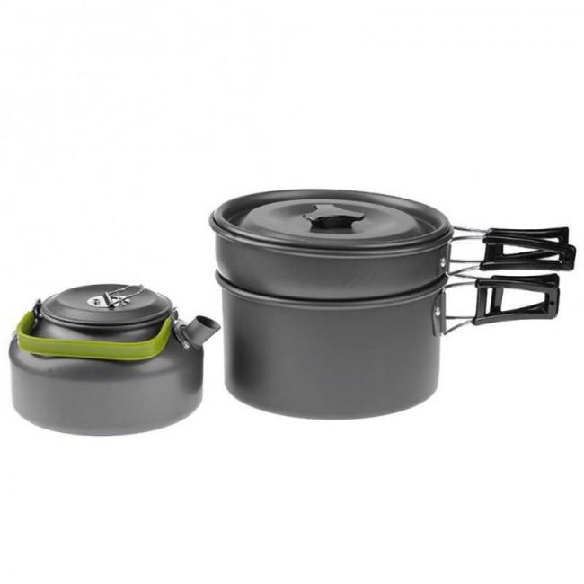 Outdoor portable picnic teapot pot set carabiner camping cookware stove with tea cup coffee cup