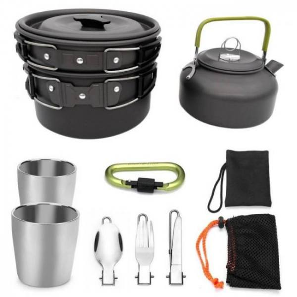 Camp & Survive Outdoor Portable Picnic Teapot Pot Set Carabiner Camping Cookware Stove With Tea Cup Coffee Cup Camping