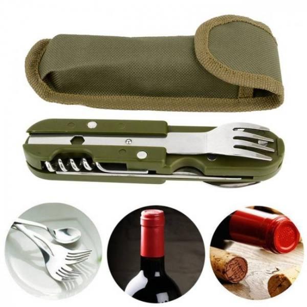 Folding tableware spoon/fork multi hiking camping utensil stainless steel travel