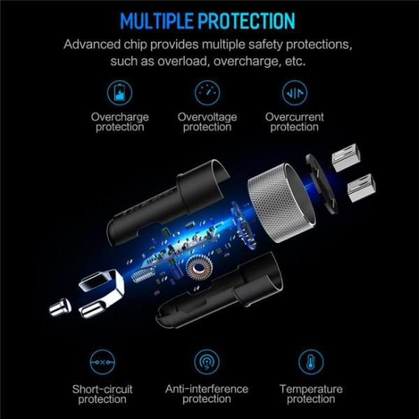 Rock digital display dual usb car charger 5v 3.4a for iphone x 8 7 xiaomi samsung fast charging voltage monitoring universal