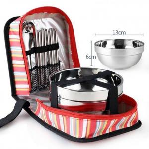 Tri-polar stainless steel tableware set bowls fork spoons chopsticks with storage bag for camping