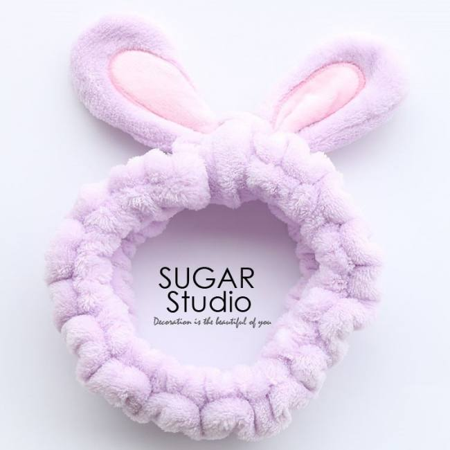 Cute soft rabbit ears hair band velvet cartoon wide brimmed headband ornaments for girls