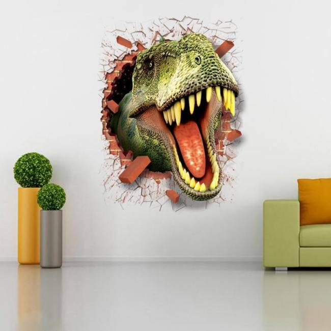 Dinosaur Sticker Removable Green 3d Dino Sticker Painting Home Decor Picture For Children Decorative Car Wall Decor Stickers Sadoun Sales