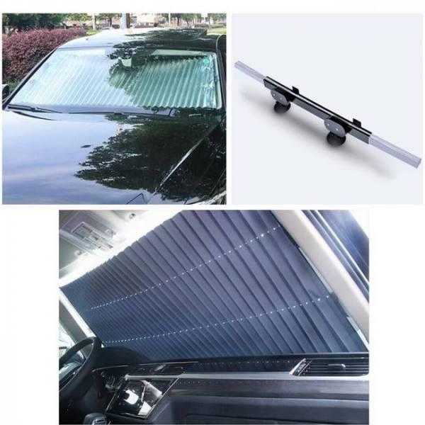 Retractable foldable car suv truck van windshield window sunshade