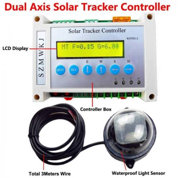 Controllers Dual Axis Solar Tracking LCD Controller W/ Light Sensor DC Power 12V/24V 12V