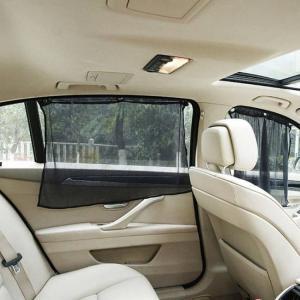 Foldable side window car sun shade mesh curtain (2 pcs)