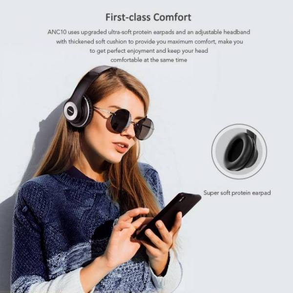 Anc10 active noise cancelling bluetooth wireless headphones