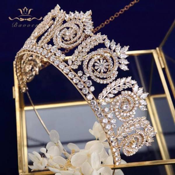 Gold sparkling wedding hair accessories bridal crowns tiaras tocado novia bride jewelry