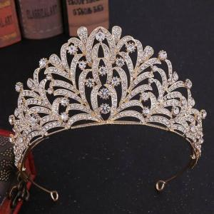 Bridal luxury women wedding crown hair rhinestone leaf headband vl tiaras tocado novia bride jewelry