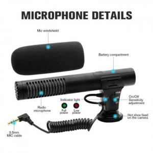 Audio plug hypercardioid recording video camera microphone