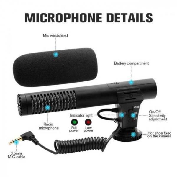 Audio plug hypercardioid recording video camera microphone