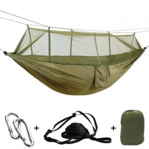 1-2 person outdoor mosquito net parachute hammock camping hanging sleeping bed swing portable  army green