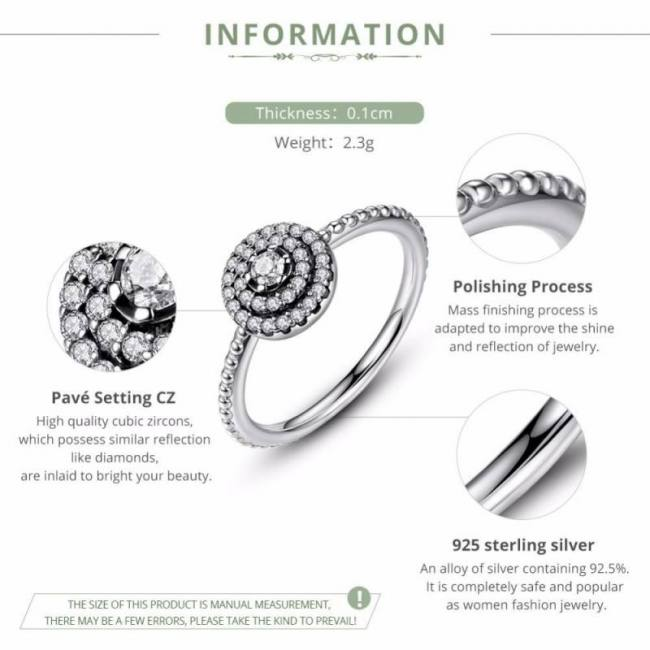 925 sterling silver ring round shape radiant elegance clear cz flower pa7178