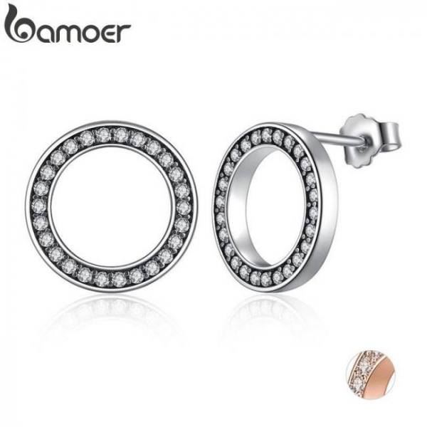 Forever clear cz 925 sterling silver circle round stud earrings jewelry pas437