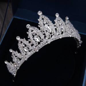 Baroque luxury handmade rhinestone bridal wedding crown tiaras silver crystal diadem