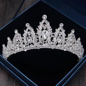 Baroque luxury handmade rhinestone bridal wedding crown tiaras silver crystal diadem