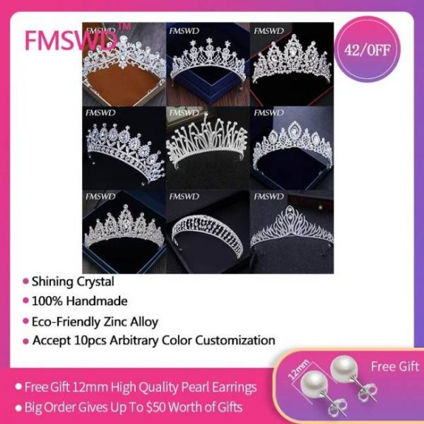 Silver gold color crystal crowns bride tiara fashion queen for wedding hair jewelry accessories