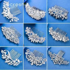 Mecresh silver color rhinestone flower leaf bridal hair comb ornaments jewelry wedding accessories