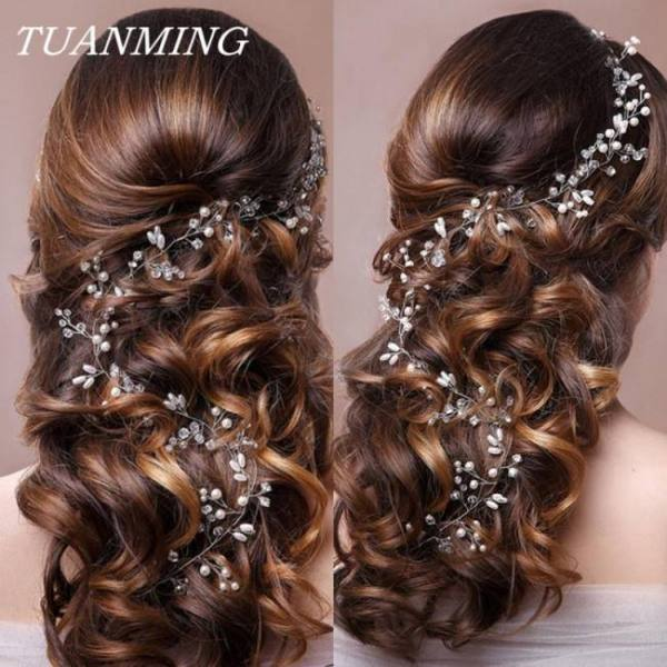 Wedding headband pearl flower bride party tiara romantic hair jewelry accessories
