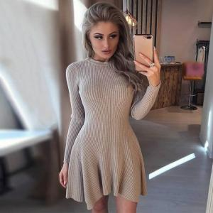 Women long sleeve sweater knitted dress knitted size: 0-10