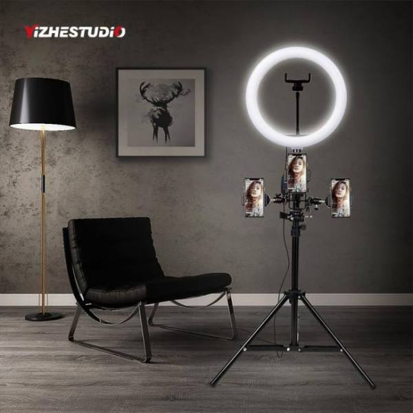 Usb interface dimmable led ring camera phone photography video makeup light lamp with tripod clip 10inch 26cm