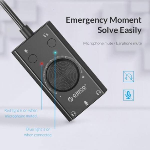 Orico sc2 usb sound card volume external adjustable 3 port mic headphone audio card microphone jack adapter for windows mac os