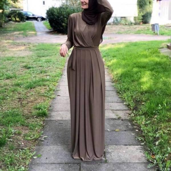 Pleated turkish style jilbab muslim islamic dress abaya