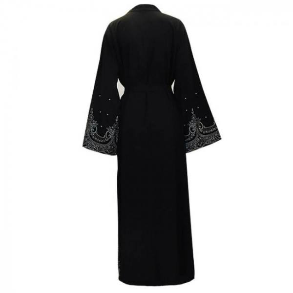 Black pearls kaftan abaya turkish islamic muslim hijab jilbab robe caftan dress