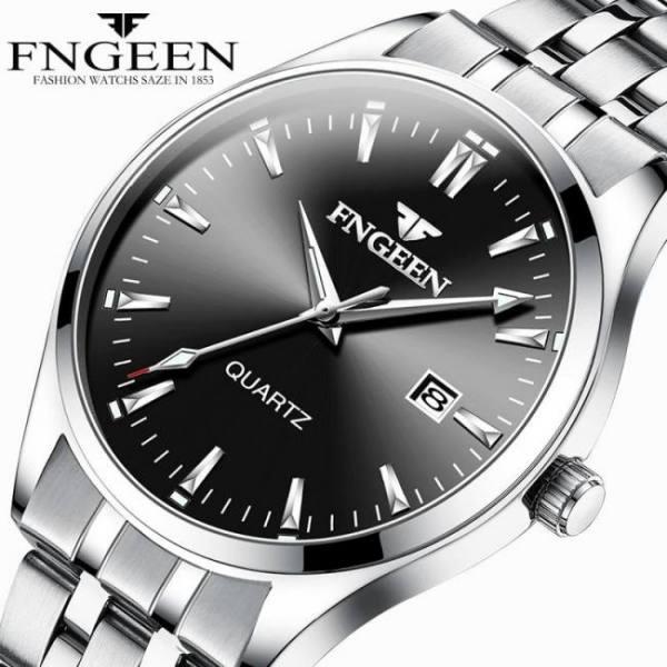 Fngeen business men's quartz wrist watch luxury stainless steel waterproof