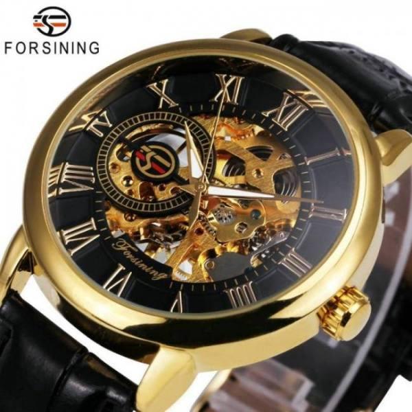 2020 3d black gold mechanical men wrist watch