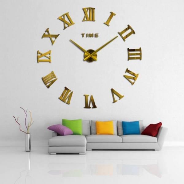 Big size diy roman numerals mirror wall clock