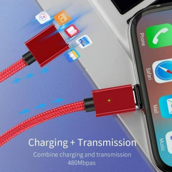Magnetic micro usb charging data cable