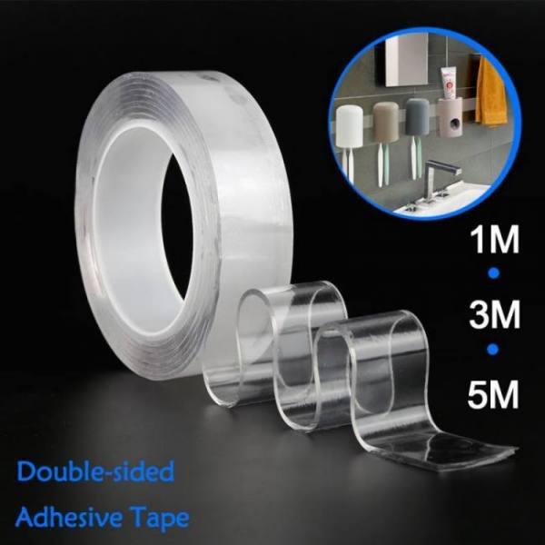 1m / 3m / 5m super glue transparent magic nanobelt washable reusable double-sided tape