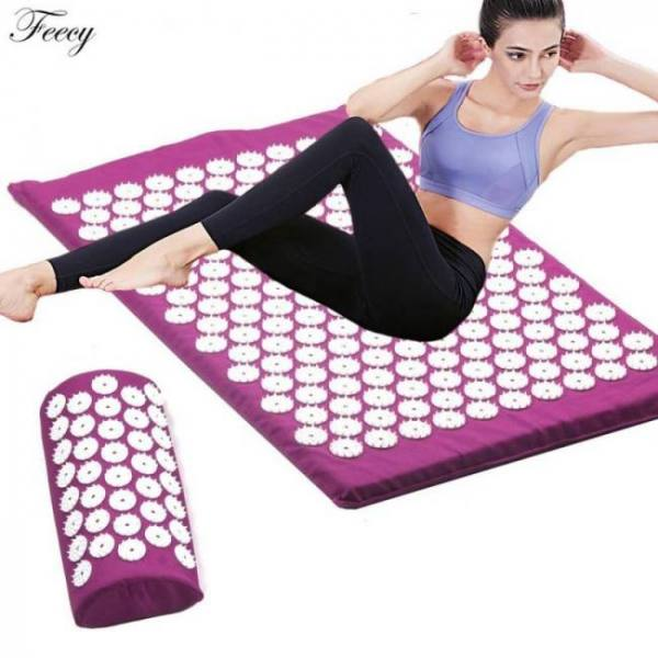 Acupressure stress relief massage pad mat and pillow set 62 x 38cm (24.5 x 15 in)