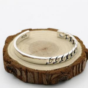 Korean fashion shoot accessories simple s925 sterling silver retro thai silver male and female open ended solid bangle