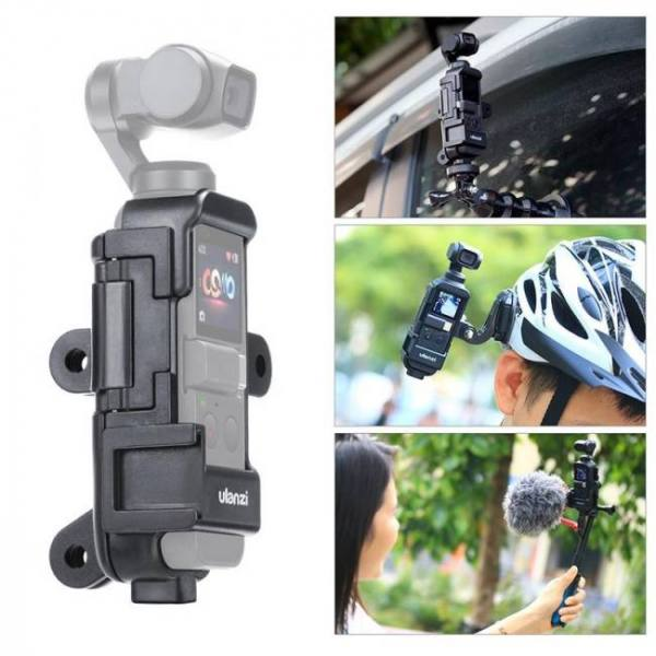 Ulanzi op-7 vlog extended housing case for dji osmo pocket , cage w microphone cold shoe 3 gopro adapter for motovlog helmet